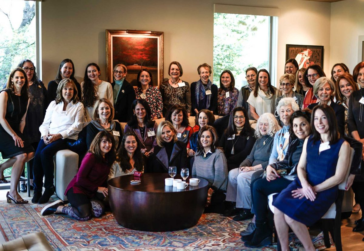 About 30 women pose for a group photo for Shalom Austin Women's Philanthropy