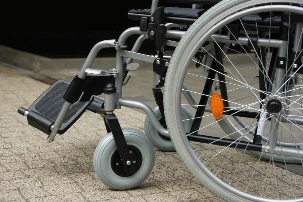 A close up view of an empty wheelchair