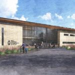 Artist rendering of the front of the new building