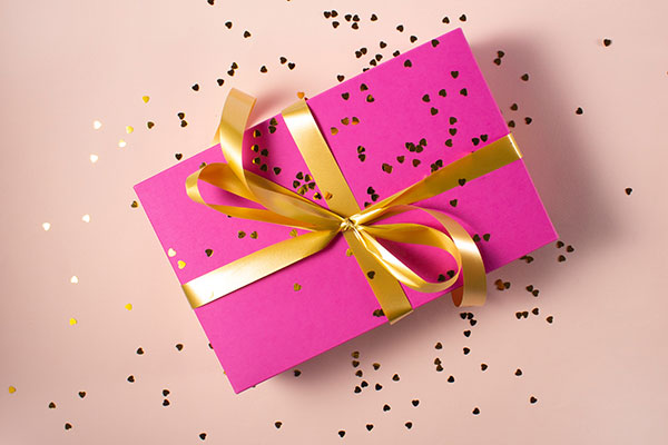 Gift Present Pink Wrapping Paper Ribbon