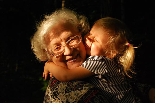 Senior Elderly Grandma Girl Hug